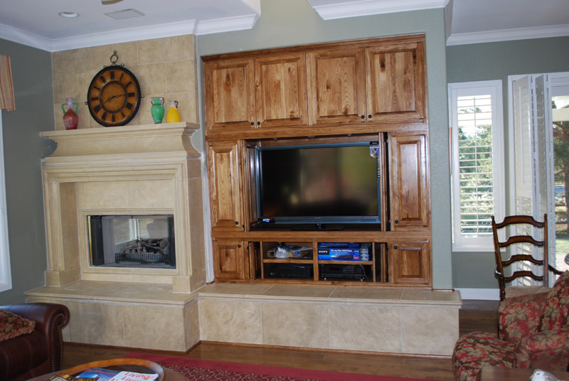 ... Remodel Family Room Entertainment Tv Custom Cabinet With Stone  Fireplace Mantle And Crown Moulding
